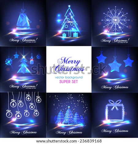 Simple glossy Christmas background. Super set - stock vector