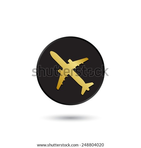Simple gold on black airplane icon, logo - stock vector