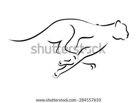 Simple graphic of a cheetah - stock vector