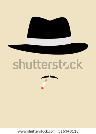 Simple graphic of a man with vintage hat smoking cigarette - stock vector