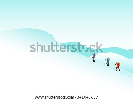 Simple graphic of people hiking on snowy mountains