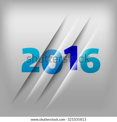 Simple gray background with blue numbers 2016. New Year Design.