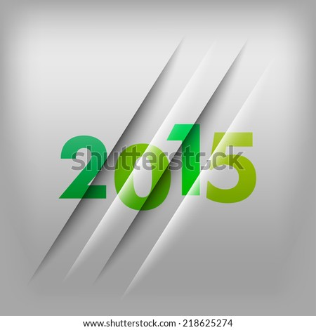 Simple gray background with green numbers 2015. New Year Design. - stock vector