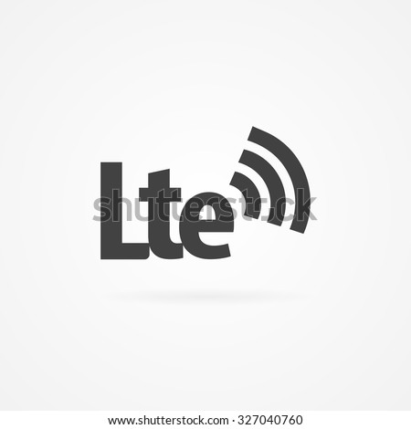 Simple gray icon of LTE text and wireless network sign. Shadow and white background. - stock vector