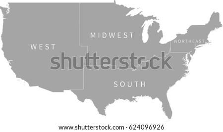 Simple Gray Us Region Map Stock Vector Shutterstock - Gray map us