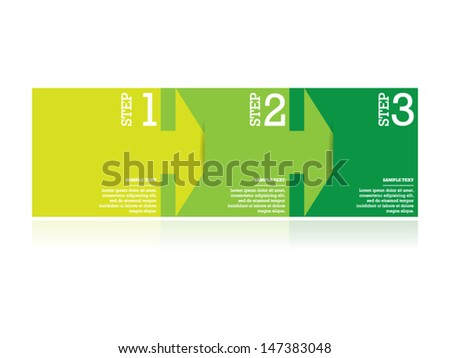 Simple Green Arrow Step by Step - stock vector