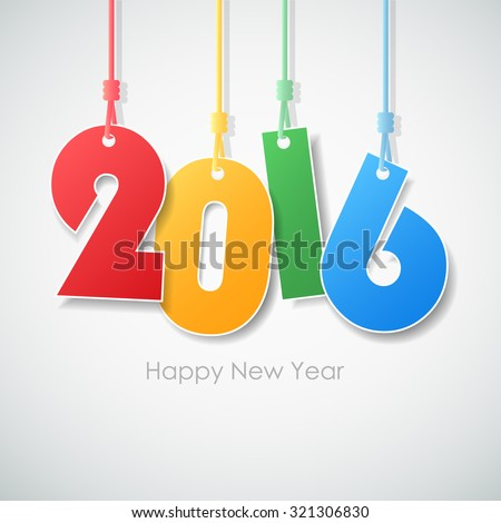 Simple greeting card happy new year 2016. Vector illustration eps10 - stock vector