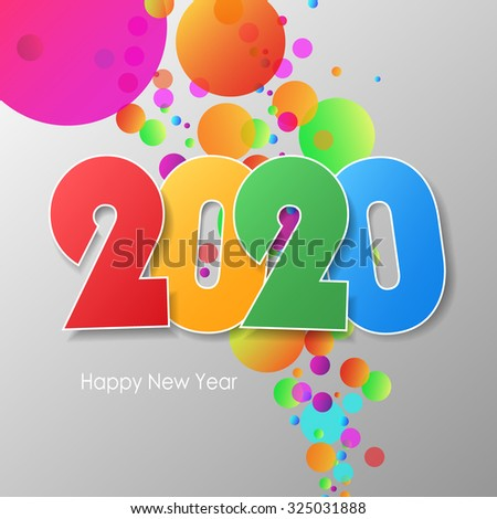 Simple greeting card happy new year 2020. Vector illustration eps10