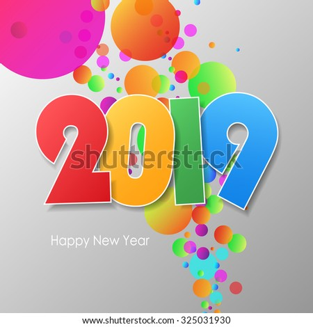 Simple greeting card happy new year 2019. Vector illustration eps10