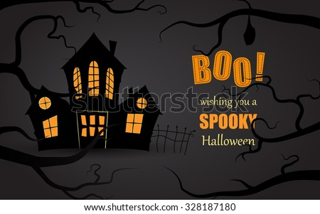 Simple Halloween card with a spooky house and a text behind branches in flat design in vector - stock vector