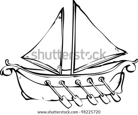 Simple Hand Drawing Sailing Boat Stock Vector 98225612 ...