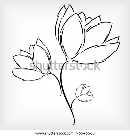 Simple hand - drawing of beautiful three tulip flowers