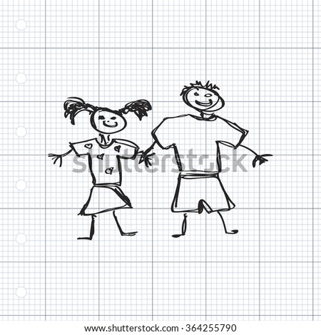 Simple hand drawn doodle of a boy and girl