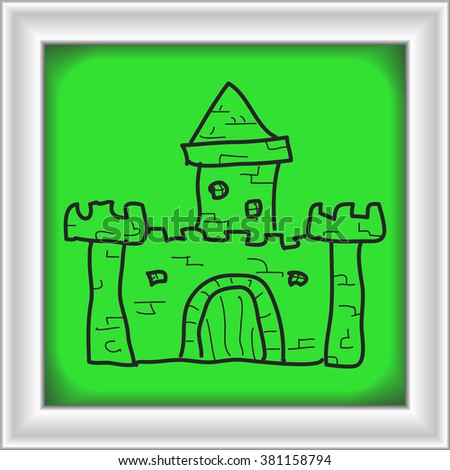 Simple hand drawn doodle of a castle