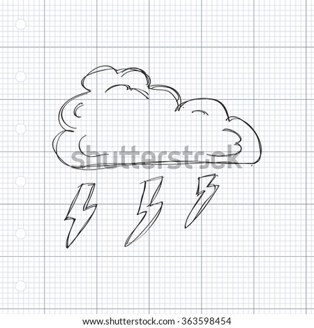Simple hand drawn doodle of a cloud with lightning - stock vector