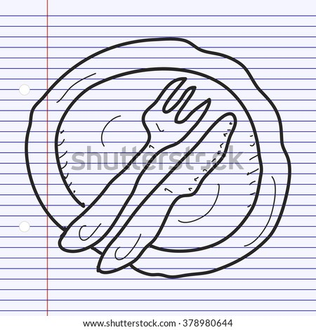 Simple hand drawn doodle of a dinner plate