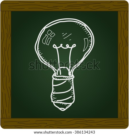 Simple hand drawn doodle of a lightbulb
