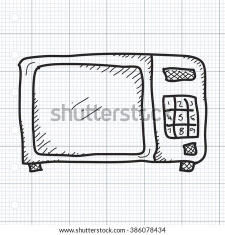 Simple hand drawn doodle of a microwave