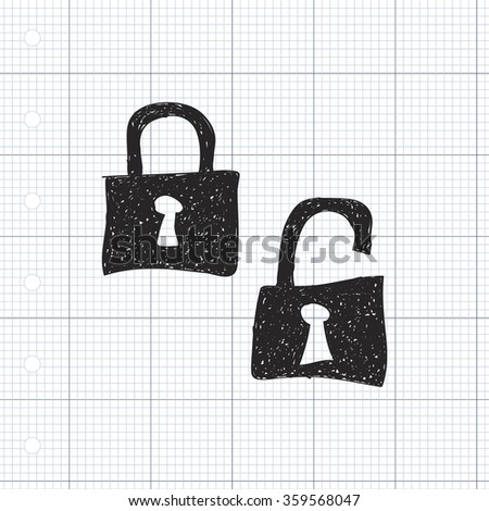 Simple hand drawn doodle of a padlock