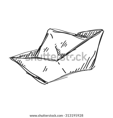 Simple hand drawn doodle of a paper boat