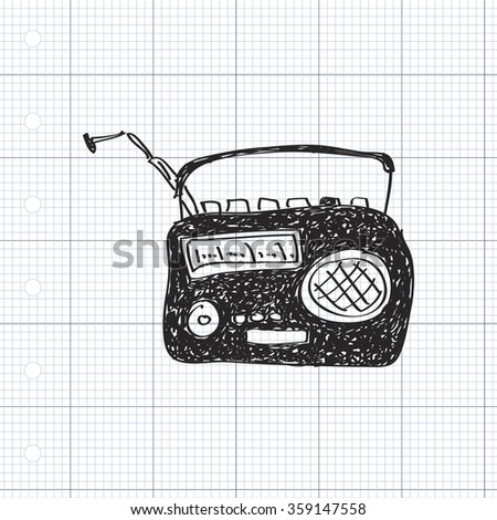 Simple hand drawn doodle of a radio