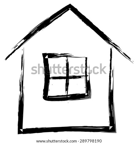Simple hand drawn house isolated on white background, vector illustration - stock vector