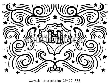 simple hand drawn monogram design template stock vector royalty