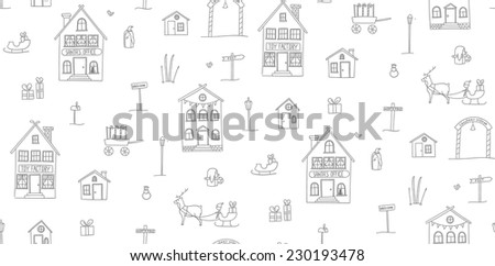 Simple hand drawn seamless texture with Christmas Village. Childish outlines of houses, presents and characters on white. Vector pattern. - stock vector