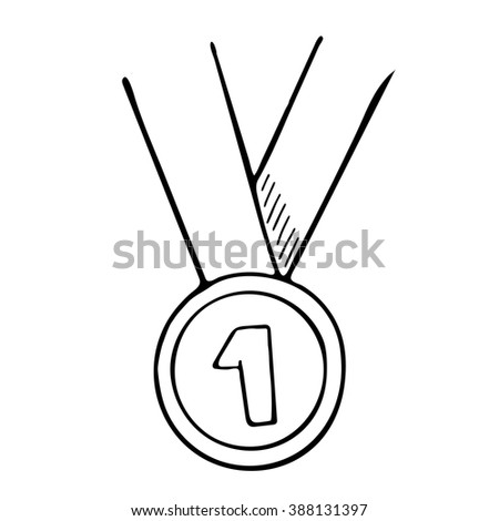 Simple hand drawn. Vector doodle of a medal