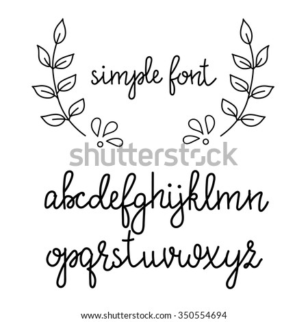 Simple handwritten pointed pen calligraphy cursive font. Calligraphy alphabet. Cute calligraphy letters. Isolated letters. Typography, decorative graphic design. - stock vector