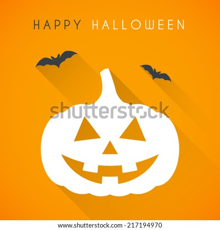 Simple Happy halloween card with pumpkin and bats - stock vector
