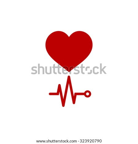 Simple Heart with its cardiogram. Red flat icon. Vector illustration symbol