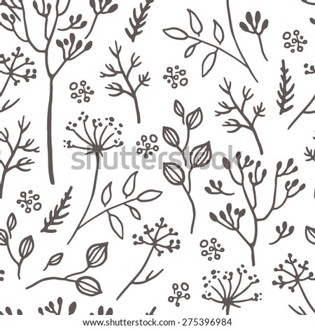 Simple herbs seamless pattern background