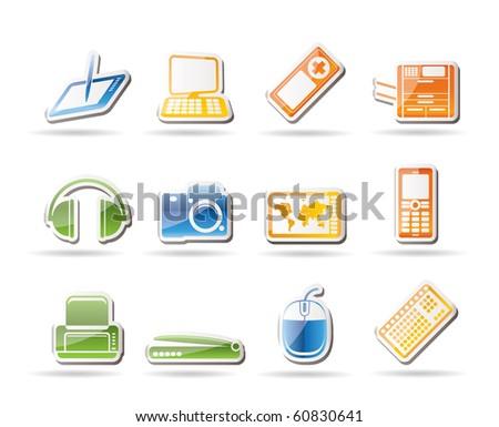 Simple Hi-tech technical equipment icons - vector icon set 3 - stock vector