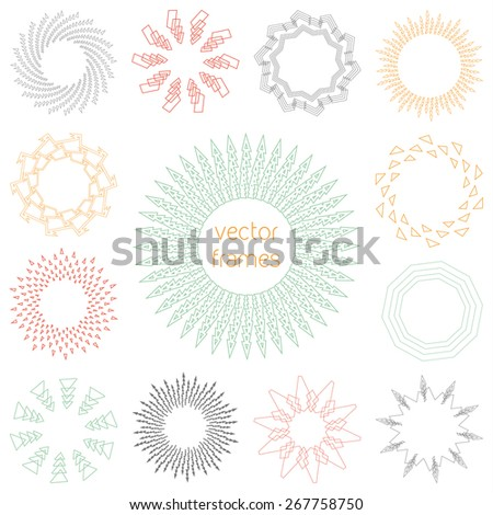 Simple hipster round frames, emblems, labels, badges, templates - stock vector
