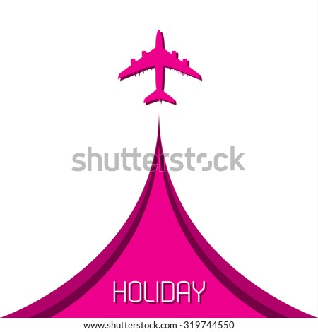 Simple holiday background with airplane - stock vector