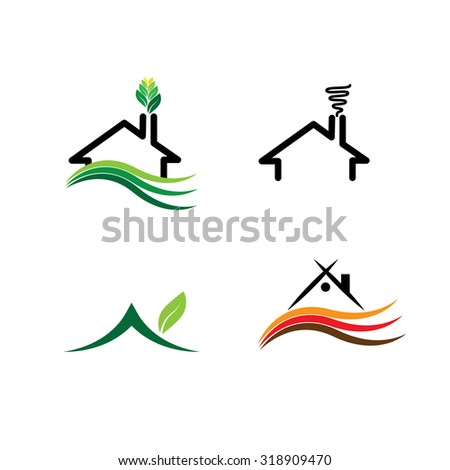 simple house, eco homes set - concept vector logos. this icon also represents real-estate, property market, residential building, sustainable construction, green buildings, etc - stock vector