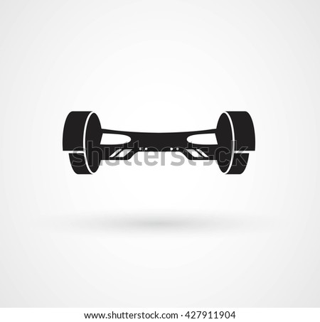 Simple hoverboard icon with shadow. Self-balancing electric scooter icons isolated on white. Vector flat illustration