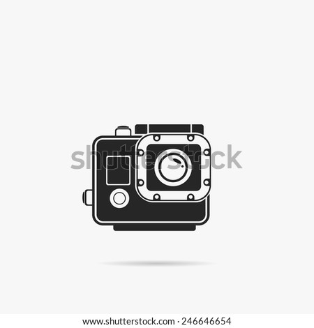 Simple icon extreme camcorder. - stock vector