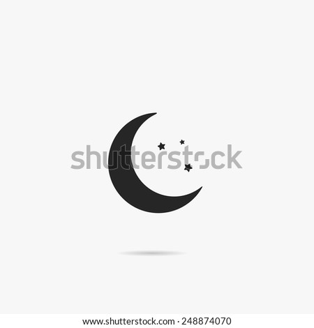 Simple icon moon with stars. - stock vector