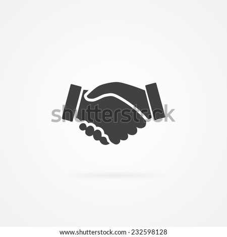 Simple icon of handshake sign. Shadow and white background. - stock vector