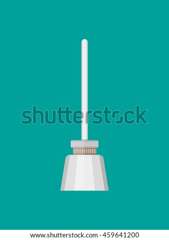 Simple icon of toilet brush. isolated on green background. vector illustration in flat style