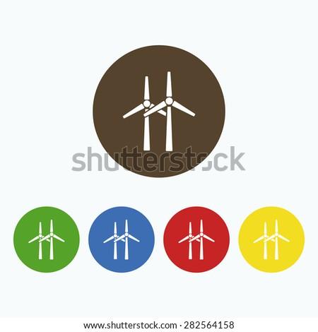 Simple icon of wind turbines. - stock vector