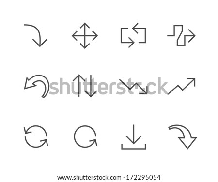 Simple Icon set related to Interface Arrows - stock vector