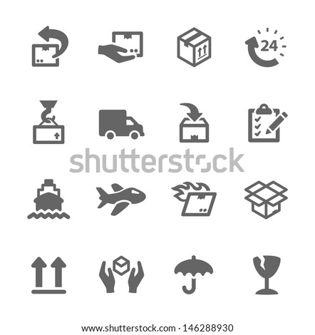 Simple icon set related to shipping and logistics. - stock vector