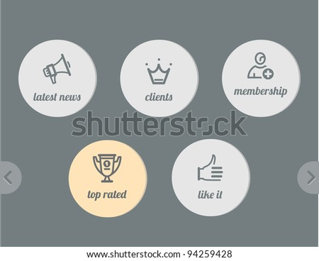 simple icons- news and clients, win cup and join, like it - stock vector