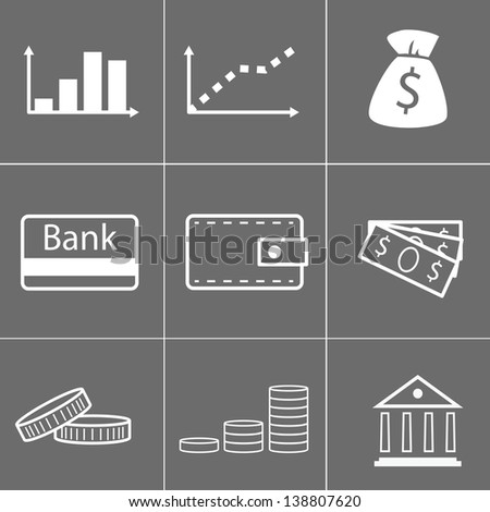 simple icons of money - stock vector