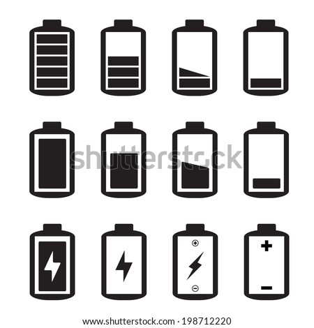 Simple illustrated battery icon with charge level - stock vector