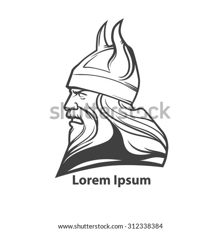 simple illustration for logo, viking head, profile view, angry, sport team - stock vector