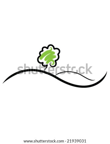Simple illustration of a tree on a hill - stock vector
